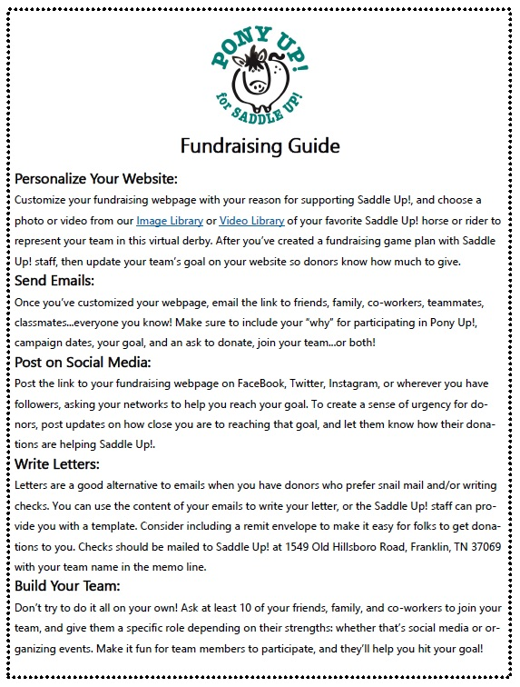 pony up fundraising guide